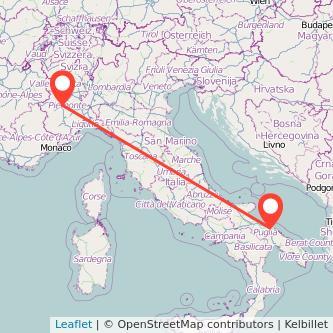 Mappa dei viaggio Torino Bari treno