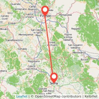 Mappa dei viaggio Siena Firenze pullman