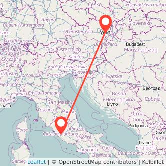 Mappa dei viaggio Roma Vienna treno