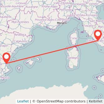 Mapa del viaje Roma Valencia en bus