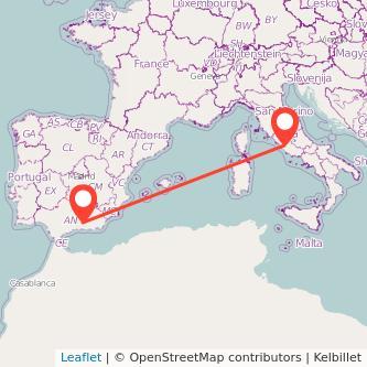Mapa del viaje Roma Granada en bus