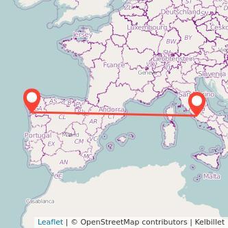 Mapa del viaje Roma Vigo en bus