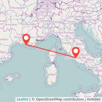 Mappa dei viaggio Roma Marsiglia treno