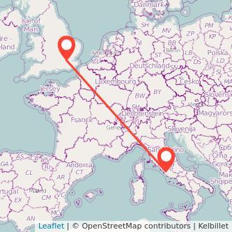 Mappa dei viaggio Roma Londra treno