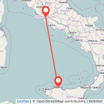 Mappa dei viaggio Roma Palermo treno