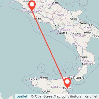 Mappa dei viaggio Roma Catania pullman