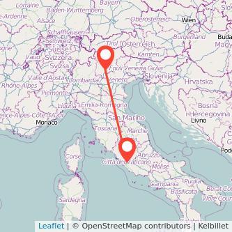 Mappa dei viaggio Roma Trento treno