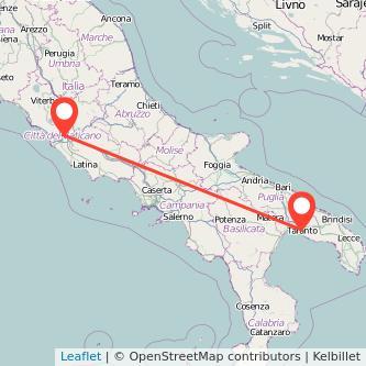 Mappa dei viaggio Roma Taranto treno