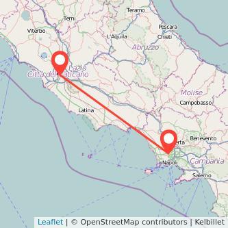 Mappa dei viaggio Roma Sant'Antimo treno