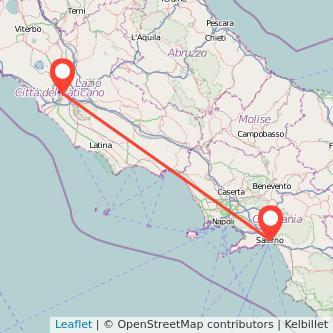 Mappa dei viaggio Roma Salerno treno
