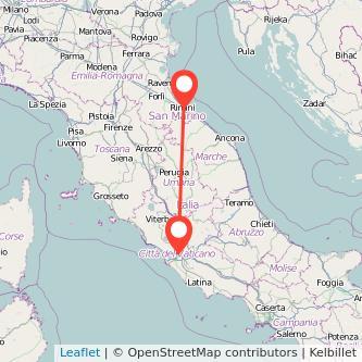 Mappa dei viaggio Roma Rimini treno