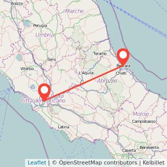 Mappa dei viaggio Roma Pescara treno