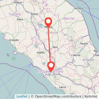 Mappa dei viaggio Roma Perugia pullman