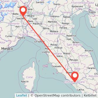 Mappa dei viaggio Roma Novara pullman