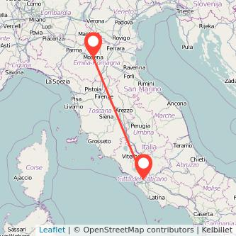 Mappa dei viaggio Roma Modena treno