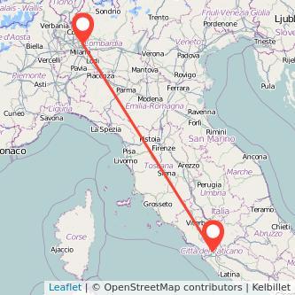 Mappa dei viaggio Roma Lissone treno