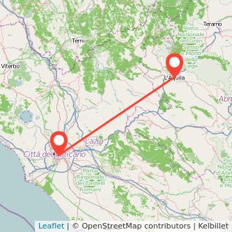 Mappa dei viaggio Roma L'Aquila pullman