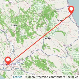 Mappa dei viaggio Roma Giulianova pullman