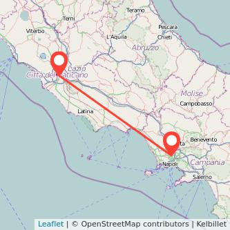 Mappa dei viaggio Roma Frattamaggiore treno