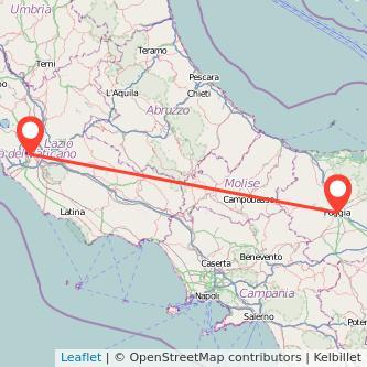Mappa dei viaggio Roma Foggia pullman