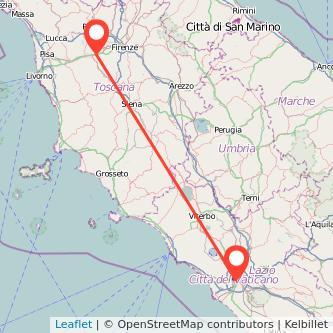 Mappa dei viaggio Roma Empoli treno