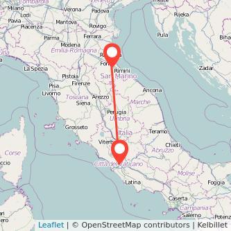 Mappa dei viaggio Roma Cesena pullman
