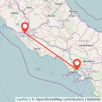 Mappa dei viaggio Roma Casalnuovo di Napoli treno