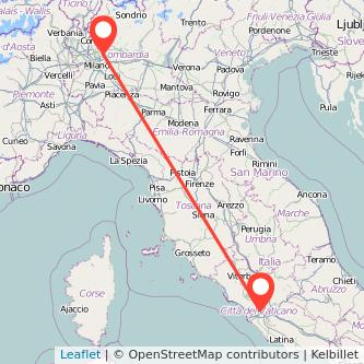 Mappa dei viaggio Roma Arcore treno