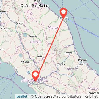 Mappa dei viaggio Roma Ancona treno