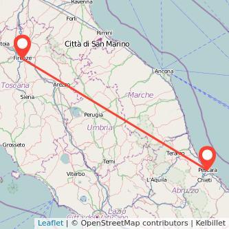 Mappa dei viaggio Pescara Firenze pullman