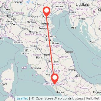 Mappa dei viaggio Padova Roma treno