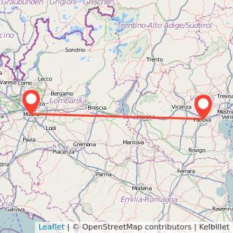 Mappa dei viaggio Padova Milano treno