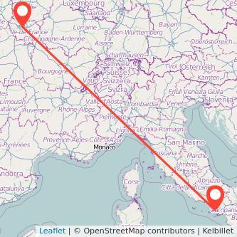 Mappa dei viaggio Napoli Parigi treno