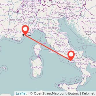 Mappa dei viaggio Napoli Nizza treno