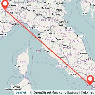 Mappa dei viaggio Napoli Torino treno