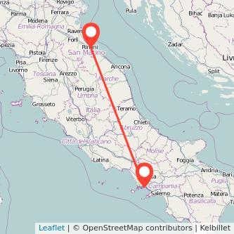 Mappa dei viaggio Napoli Rimini treno