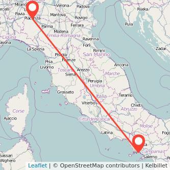 Mappa dei viaggio Napoli Piacenza treno