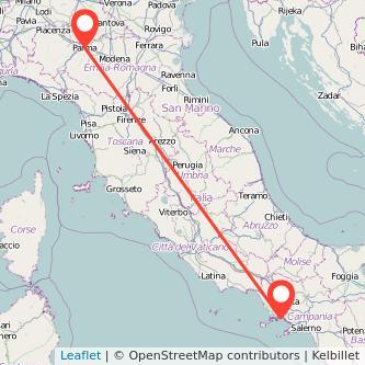 Mappa dei viaggio Napoli Parma treno