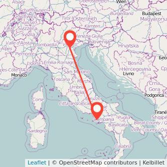 Mappa dei viaggio Napoli Padova treno