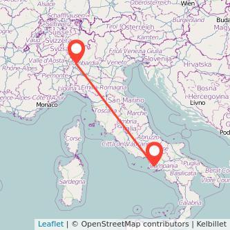 Mappa dei viaggio Napoli Monza treno