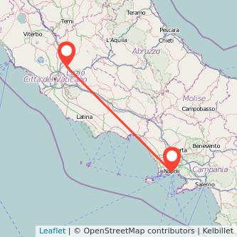 Mappa dei viaggio Napoli Monterotondo treno
