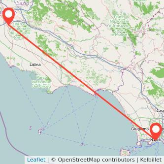 Mappa dei viaggio Napoli Ciampino treno