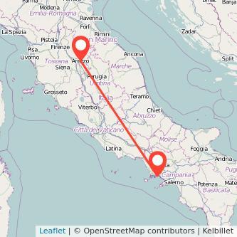 Mappa dei viaggio Napoli Arezzo treno