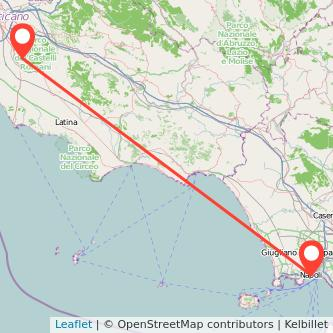 Mappa dei viaggio Napoli Albano Laziale treno