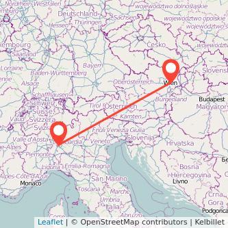Mappa dei viaggio Milano Vienna treno