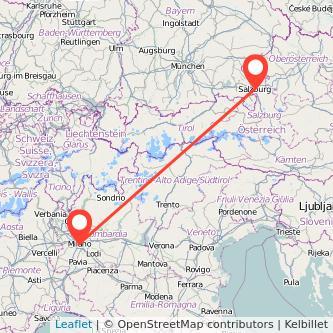 Mappa dei viaggio Milano Salisburgo treno