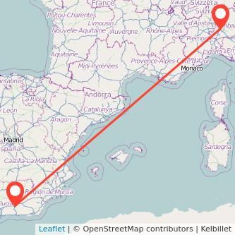 Mapa del viaje Milan Granada en bus