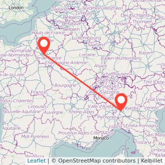 Mappa dei viaggio Milano Parigi treno