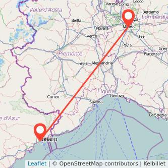 Mappa dei viaggio Milano Nizza treno