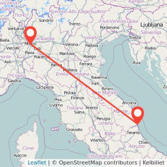 Mappa dei viaggio Milano San Benedetto del Tronto treno